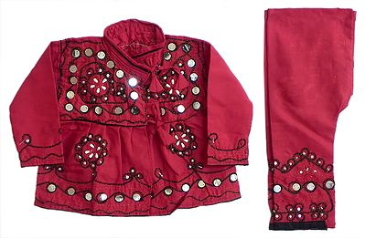 Red Gujrati Kurta, Pyjama and Cap with Sequin and Bead Work