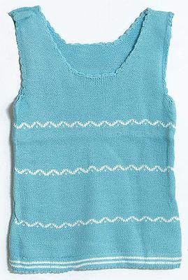 Sleeveless Blue Sweater