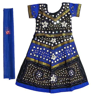 Dark Blue with Black Border Lehanga Choli and Odhni with Embroidery and Sequin Work