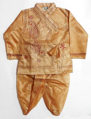 Beige Tussar Dhoti, Kurta with Sequin Embroidery