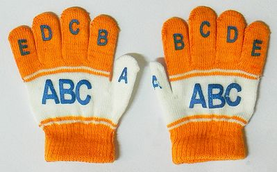 A, B, C Embroidered Saffron with White Gloves