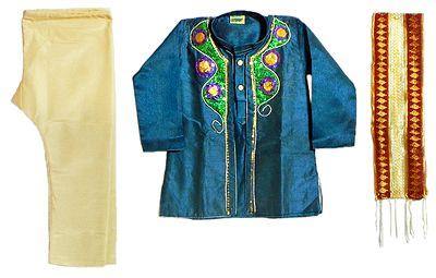 Bead and Seqin Work on Dark Blue Jacket with Beige Pyjama Blue Kurta and Net Chunni