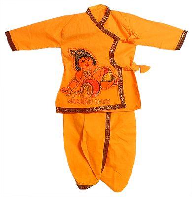 Picture of Krishna on Saffron Kurta and Dhoti