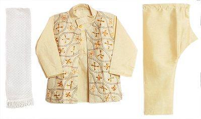 Light Cream Kurta, Pyjama, Sleeveless Jacket and Chunni with Sequin Embroidery