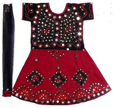 Red with Black Lehenga Choli and Purple Chunni with Bead and Sequin Work