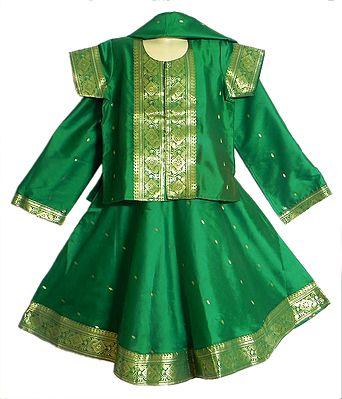 Dark Green Silk Lehenga, Choli and Chunni with Golden Zari Border