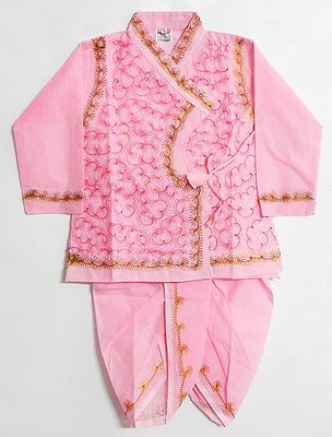 Embroidered Pink Full Sleeve Kurta and Pyjama Dhoti