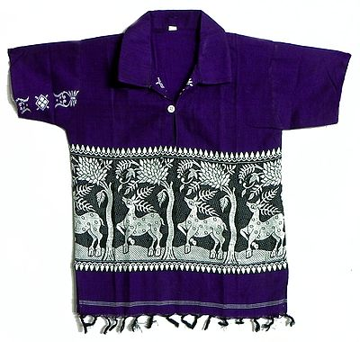 Dark Purple Half Sleeve Short Kurta with Baluchari Weave Design