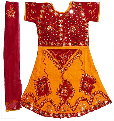Saffron with Red Lehenga Choli and Red Chunni with Bead and Sequin Work