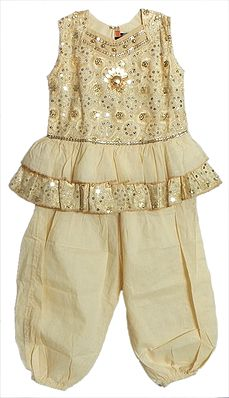 Embroidered Ivory Frock and Salwar