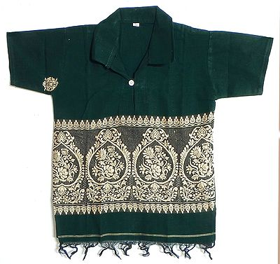 Dark Green Half Sleeve Short Kurta with Baluchari Weave Design