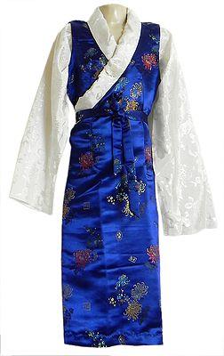 Blue with White Brocade Silk Sikkimese Dress