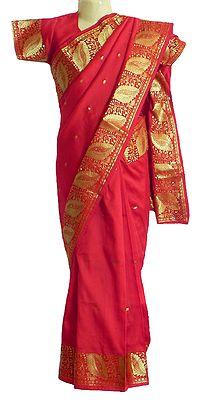 Red Silk Ready to Wear Saree with golden Zari Border and Pallu