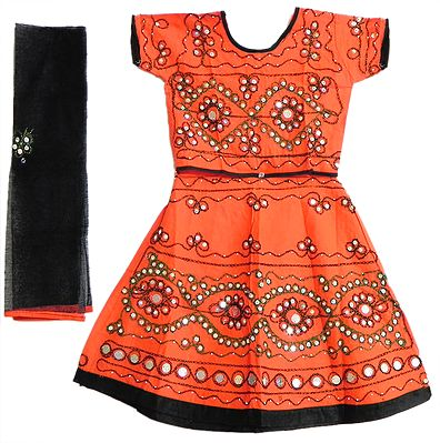Saffron Lehanga Choli and Black Odhni with Embroidery and Sequin Work