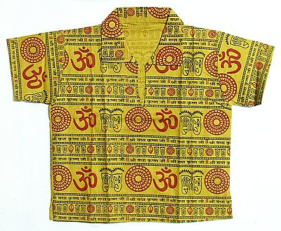Olive Green Half Sleeve Short Kurta with Om, Vishnu's Foot Print and Radha Krishna Print