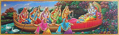 Radha Krishna with Gopinis on a Boat Ride