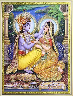 Radha Krishna Admiring  Each Other