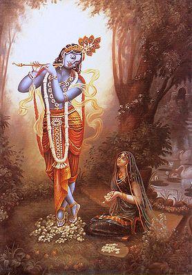 Radha Worships Krishna