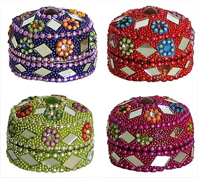 Four Kumkum Containers with Mirror Work