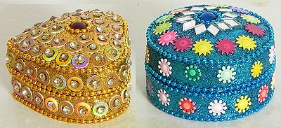 Two Kumkum Containers with Sequin Work
