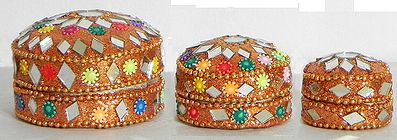 Three Peach Kumkum Containers with Mirror Work