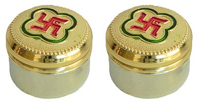 Two Metal Kumkum Containers with Swastik (Auspicious Hindu Symbol) on Top