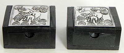 Set of Two Wooden Kumkum Containers
