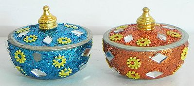 Set of Two Colorful Kumkum Conatainers