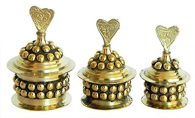 Three Brass Kumkum Container
