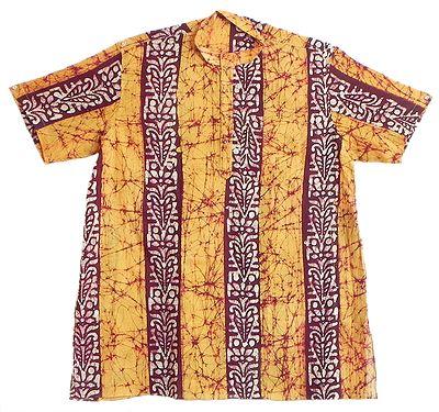 Yellow with Dark Brown and White Batik Short Sleeve Kurta