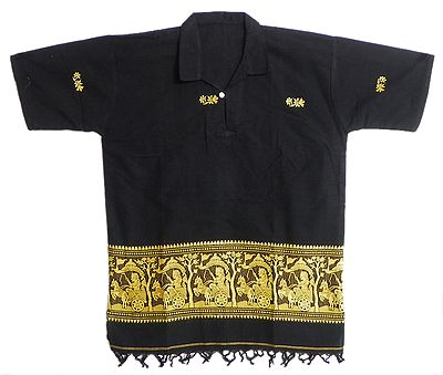Black Half Sleeve Short Kurta with Baluchari Weave Design