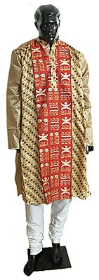 Light Brown with Red Embroidered Kurta and White Churidar
