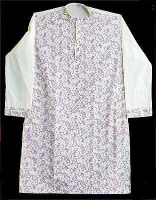 White Kurta with Mauve Embroidery