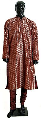 Maroon with Golden Net Cloth on Polyester Churidar Kurta with Embroidery on the Collar