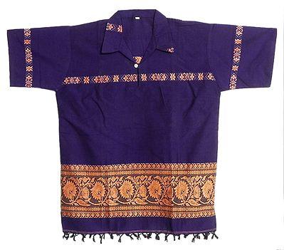 Purple Half Sleeve Short Kurta with Baluchari Weave Design