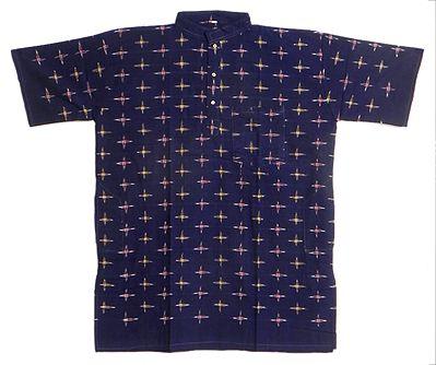 Dark Blue Short Sleeve Cotton Kurta with Ikkat Design