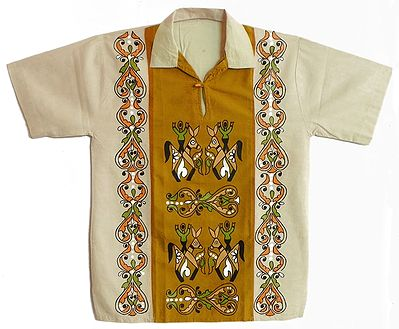 Off White with Chrome Yellow with Maroon Hand Painted Short Kurta