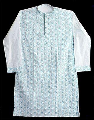 Light Blue Embroidery on White Kurta