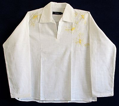 White Short Kurta with Yellow Embroidery on Front