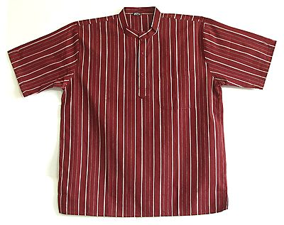 White Stripes on Maroon Short Kurta
