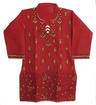 Red Embroidered Kurta
