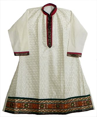Off-White Embroidered Kurti with Golden Border