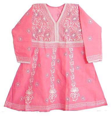 Rose Pink Kurti with white Thread Embroidery
