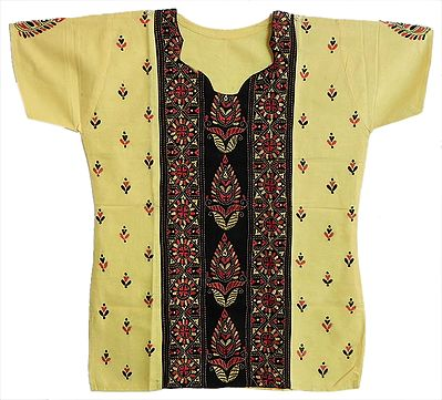 Kantha Stitch Short Kurti in Light Yellow with Black Front