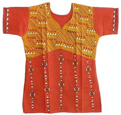 Kantha Stitch Short Kurti in Brick Red and Orange