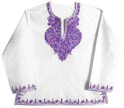 Mauve Embroidered Full Sleeve Short Kurta
