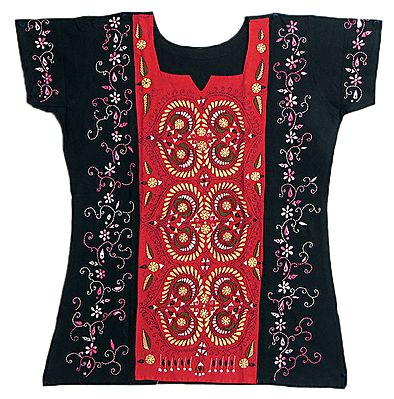 Black Short Kurta with Red on Front with Kantha Stitch Embroidery