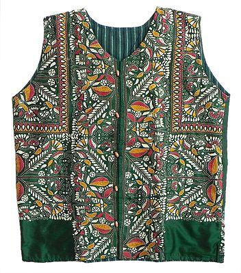 Kantha Stitch Green Silk Jacket