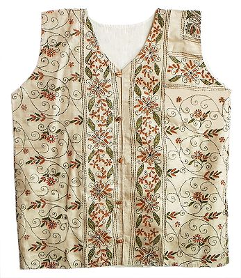 Kantha Stitch Light Beige Silk Ladies Jacket