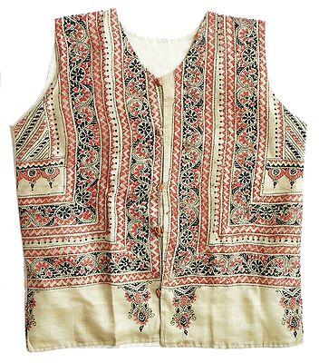 Kantha Stitch Light Beige Tussar Silk Ladies Jacket